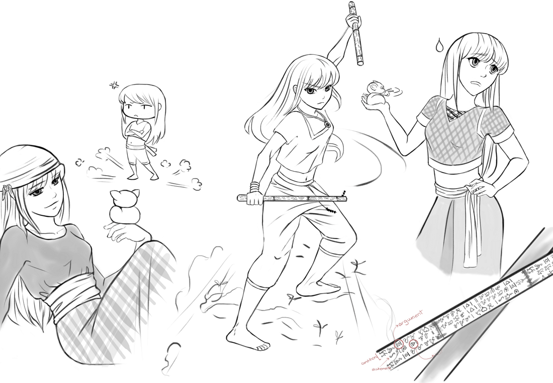 A sketchdump of Anina with her fightings staffs and her pet tarsier