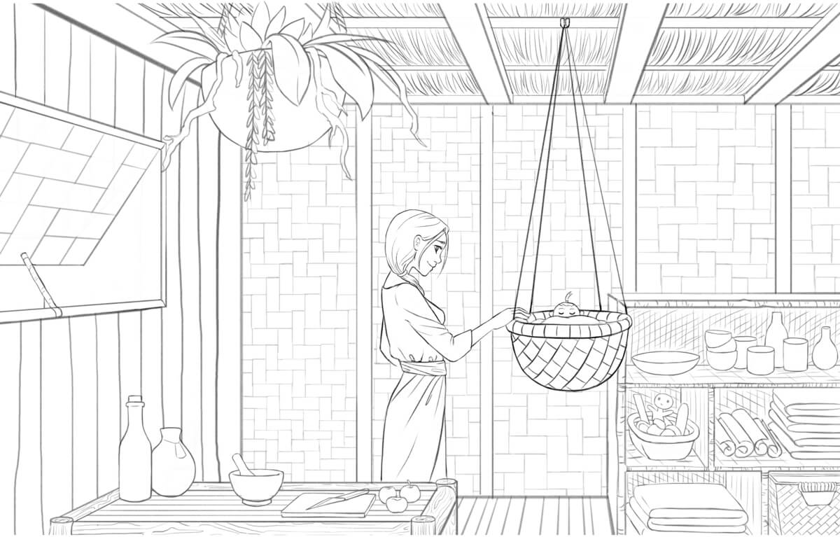 Kabi rocking a cradle in a hut. The room features tables and shelves filled with miscellaneous plants and objects.