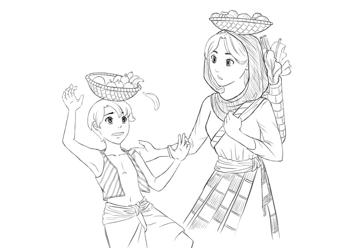 Sano, around ten years old, struggling to carry a fruit basket on his head. Kabi tries to steady him, her own fruit basket balanced perfectly on her head.