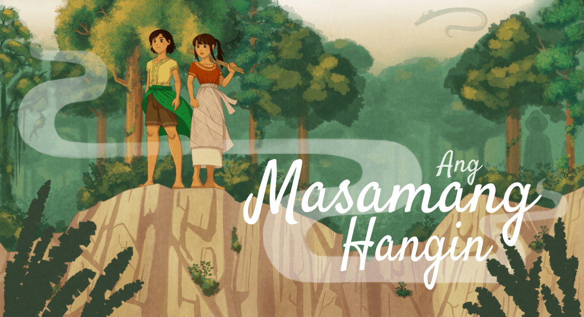 Fully rendered version with Ang Masamang Hangin in a slanted script font.