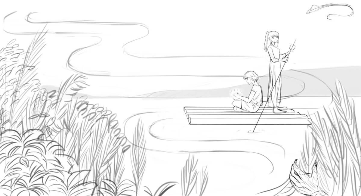 A black and white sketch of a boy and a girl riding a raft on a river. The boy's hands glow with magic. There are shrubs in the foreground and a clawed hand sets aside some leaves. There's a sea-serpent in the sky.