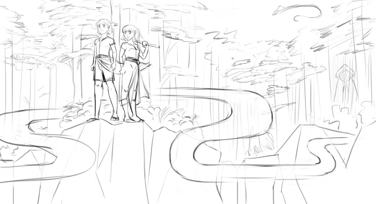 A black and white sketch of a boy and a girl looking over a cliff with a forest background. There is a shadowed figure in the forest, and a sea-serpent in the sky.
