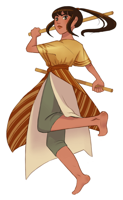 A coloured image of Anina wielding her staffs, wearing earth-toned tunic and skirts