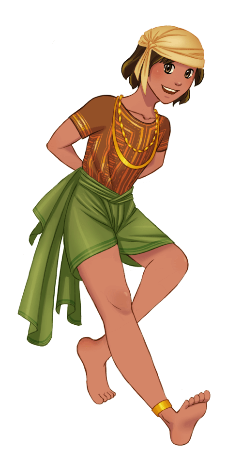 A coloured image of Sano smiling, wearing in earth-toned silk turban, tunic, and loincloth