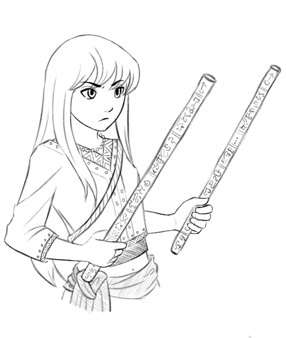 A black and white sketch of Anina holding her staffs