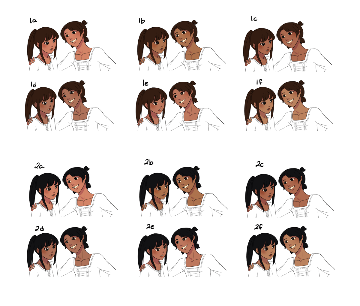 A table of different skin tones and hair colour for Sano and Anina