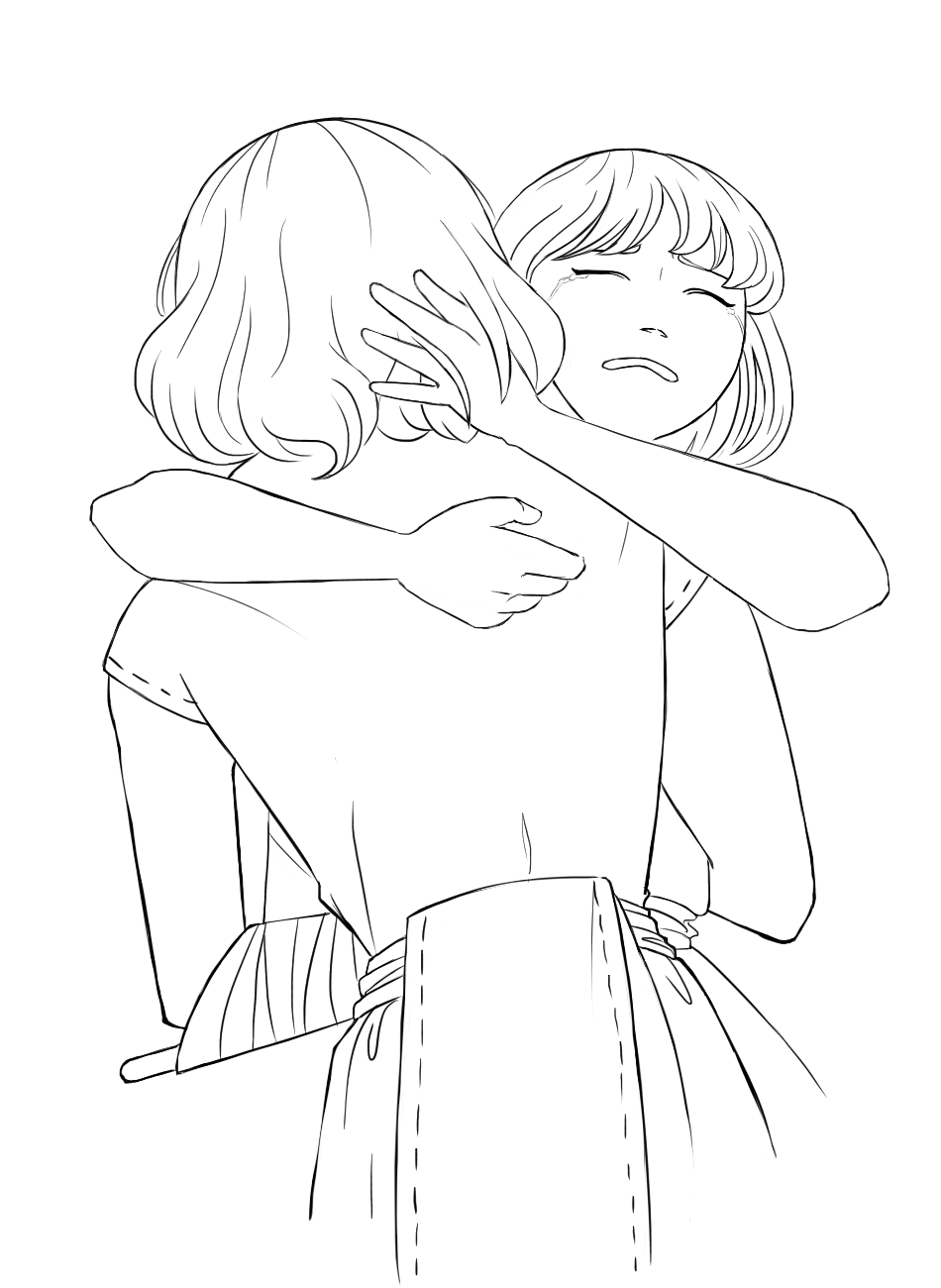 Sano and Anina hugging with Anina facing the front