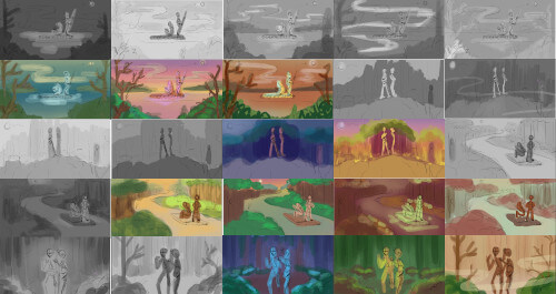 Twenty thumbnails with different value statements and color palettes.